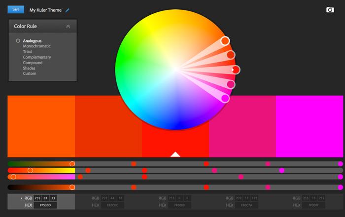 Image tiré de l'outil Kuler de Adobe